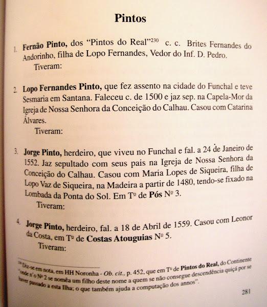 Pintos da ilha da Madeira, descendentes dos de Real (Castelo de Paiva)