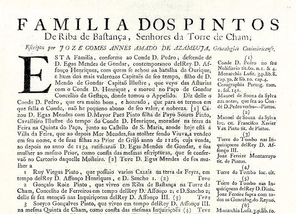 """""""Família dos Pintos de Riba de Bastança, Senhores da Torre de Cham"""""""