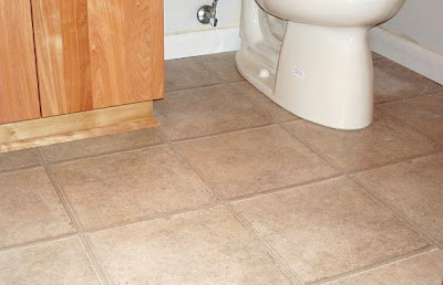 linoleum looks like tile in powder room remodel