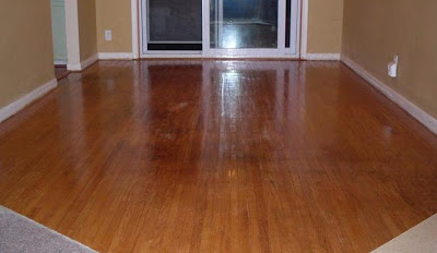 refinished oak plank wood floor, the glare makes me squint!