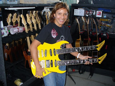 Germana with one of Phil Collen's guitars