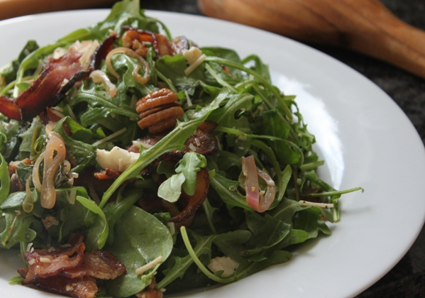 Kitchen Snaps: Warm Spinach Arugula Salad with Bacon, Eggs and Pecans