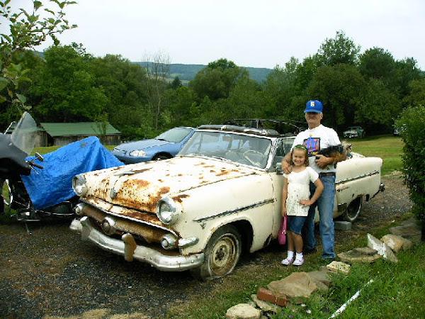 Ken, Aubri, & Gizmo--1954 Ford Convertible