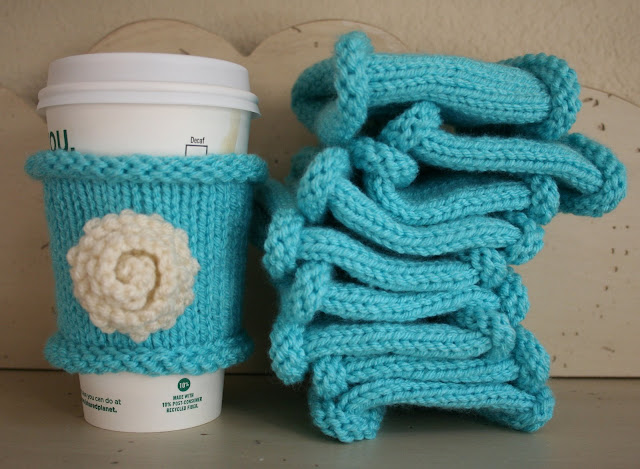 knit turquoise coffee cuffs