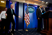 President Obama and former President Clinton make a surprise appearance in .