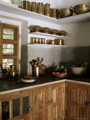 Traditional Brass Kitchen Utensils in Kitchen Area in Residential Home