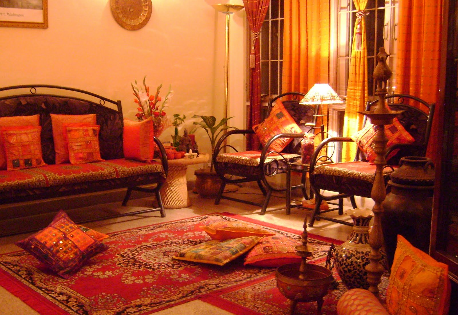 Ethnic indian decor for Indian interior design ideas living room
