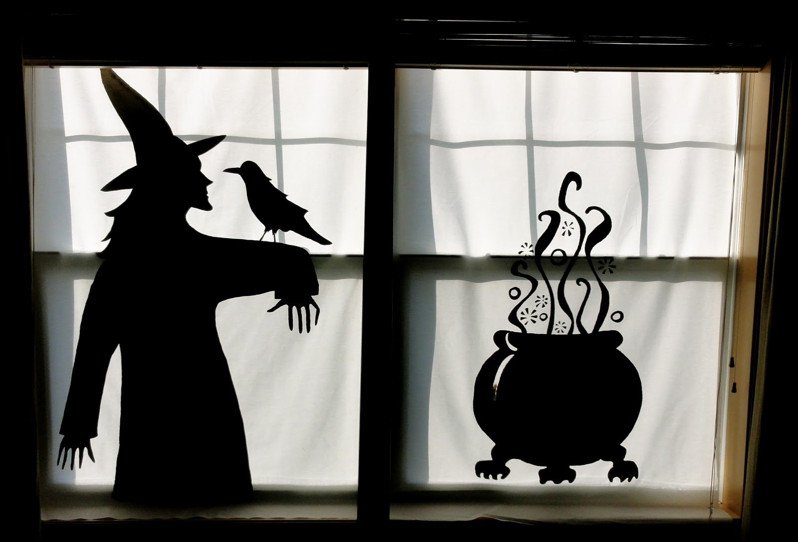 birshykat witch with caldron window silhouette. Black Bedroom Furniture Sets. Home Design Ideas