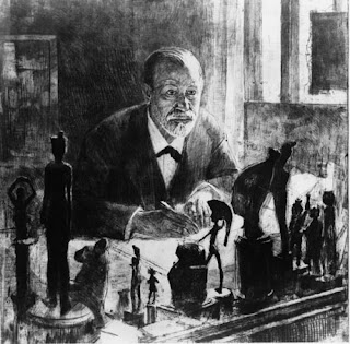 Sigmund Freud drawn in his studio, with statues