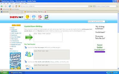 situs Upside Down Writing  meyedikan layanan Tulisan Terbalik untuk web blog, chat dan email