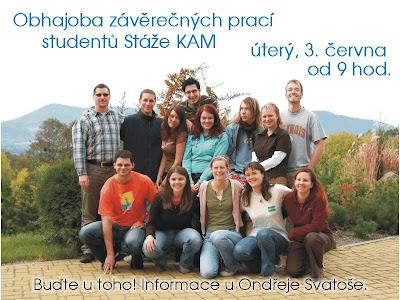 Obhajoba závěrečných prací studentů Stáže KAM proběhne 3. června 2008 v hale Elim od 9 hod. Chcete-li se zúčastnit, domluvte se, prosím, s Ondřejem Svatošem.