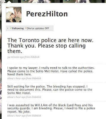 Perez Hilton says Wil.I.Am of Black Eyed Peas beat him up; lying?