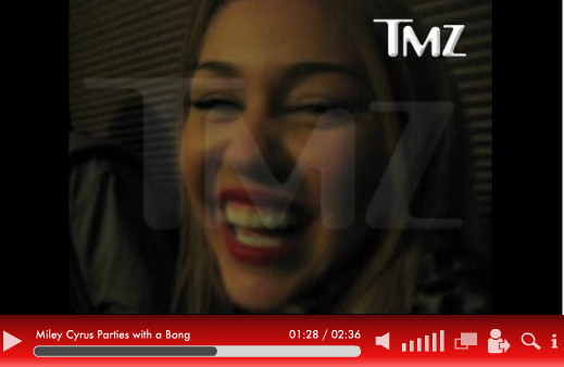 Miley Cyrus is in a video smoking a bong. Cool! According to TMZ.com,