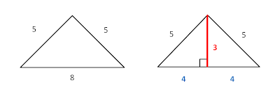 how to find sides of isosceles triangle when given area