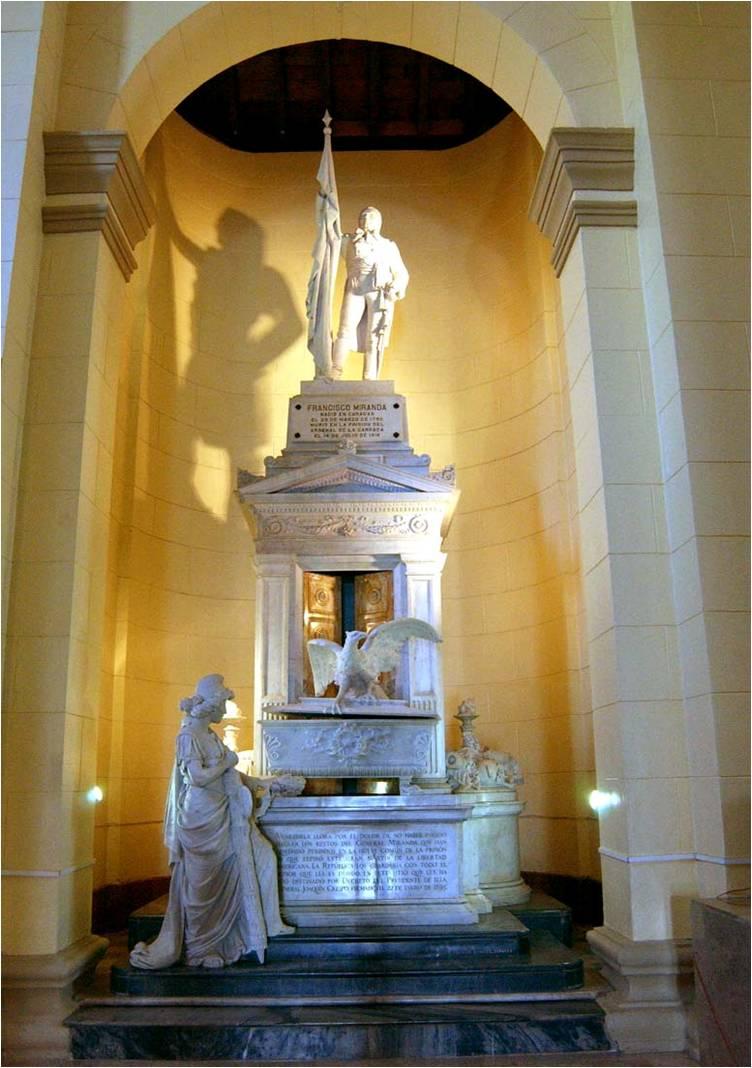 vacía) de Francisco de Miranda en el Panteón Nacional de Venezuela