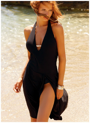 Front Slit Black Summer Dress by Jolidon