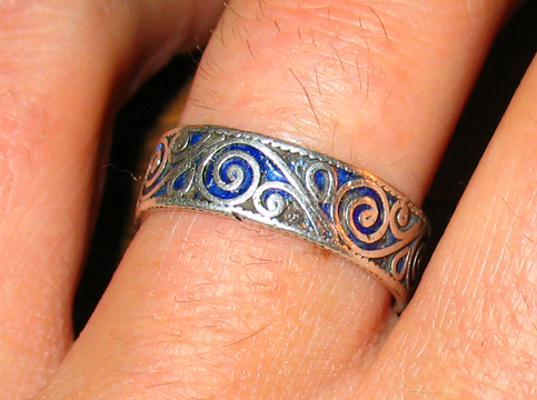 1 Our wedding rings are silver filigree with lapis lazuli melted between