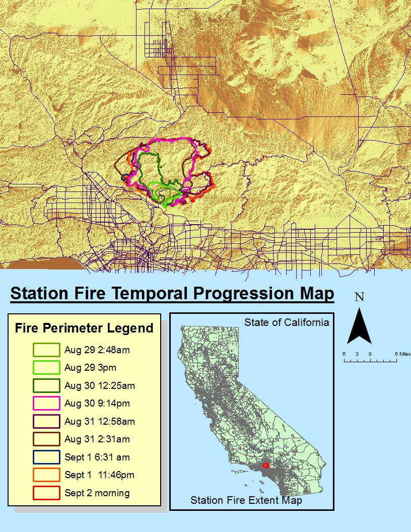 the above map is the station fire temporal progression map which shows the outlines of the perimeters of the station fire over time using data from