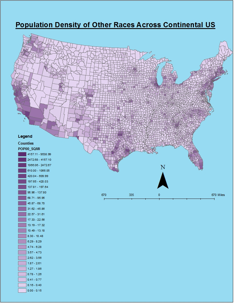 the map above shows the population density of other races in the continental united states that make up a significant part of the population