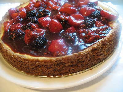 Ricotta and Goat Cheese Cheesecake with Mixed Berries and Balsamic Vinegar