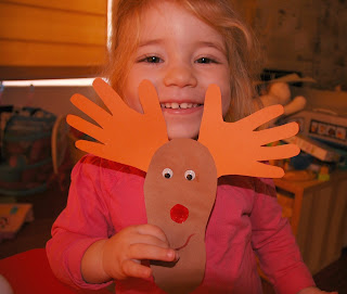 toddler craft hand print and foot print Rudolph