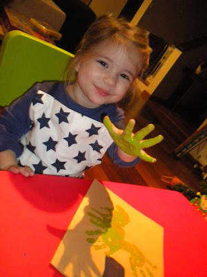 toddler craft hand print Christmas tree painted hand