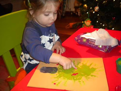 toddler craft hand print Christmas Tree finger print ornaments