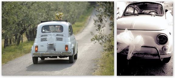 White Fiat 500 Wedding Car