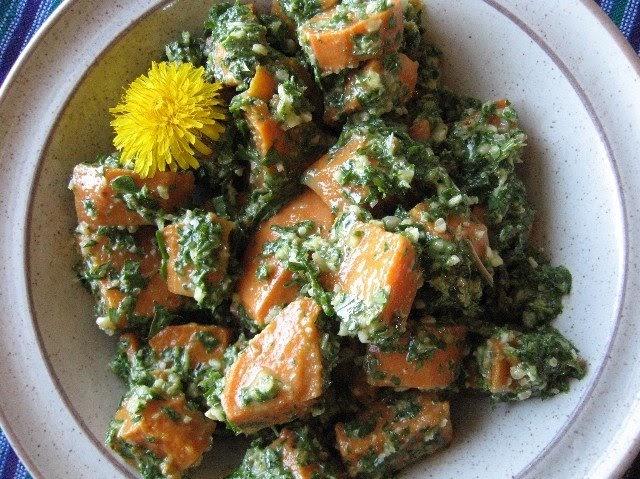 Vegan for the People: Dandelion Pesto & Sweet Potato Salad