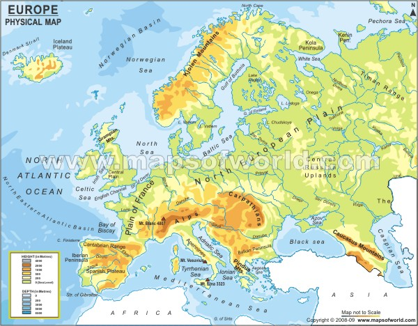 europe continent physical map