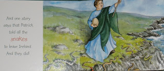 St. Patrick boring and irritating the snakes out of Ireland