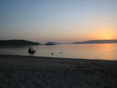 Solpor dende a praia de Aguieira