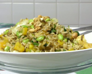 A 'concept' recipe for a colorful brown rice side dish, one that invites adaptations and substitutions based on what sounds good, what's on hand, what's in season