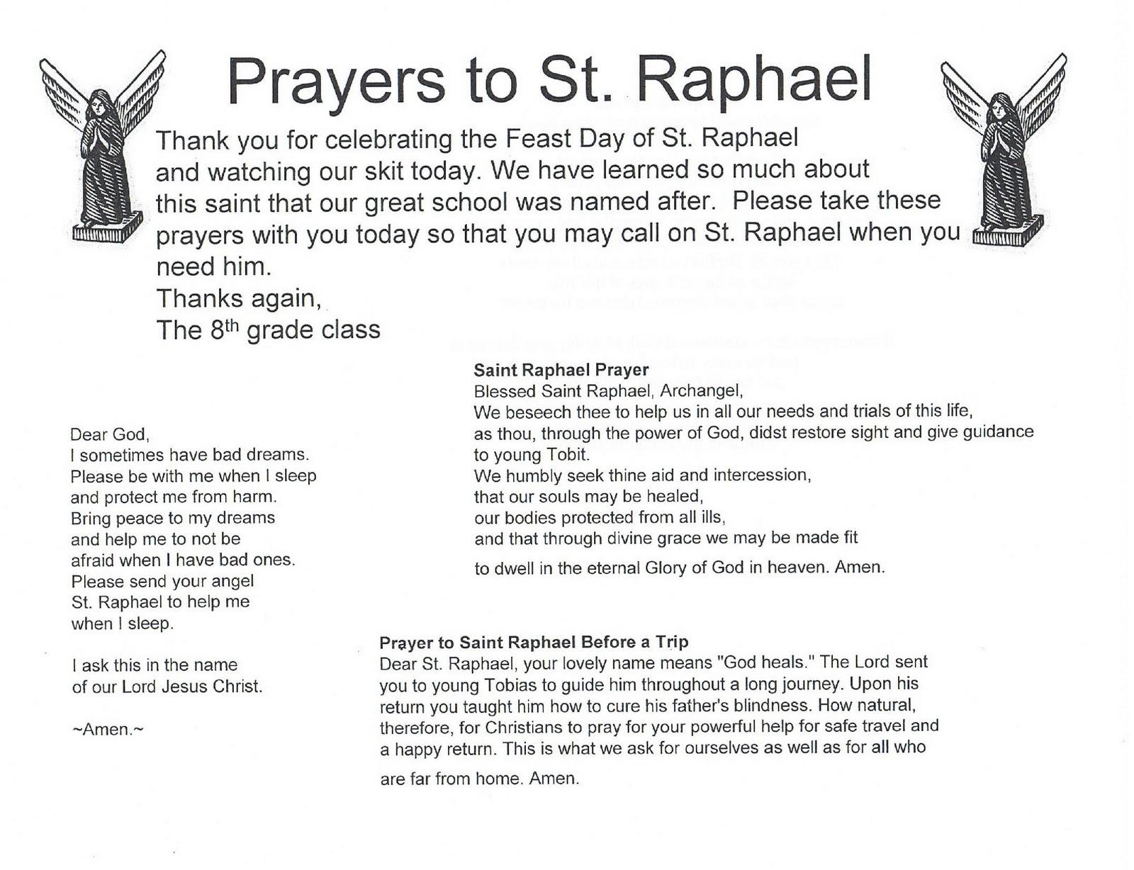 Prayer to st raphael for healing