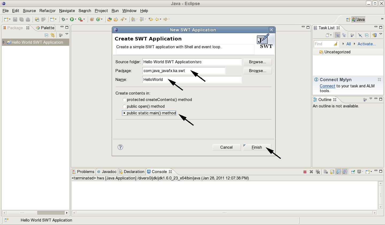 Jcafefo swt hello world using windowbuilder add an application window baditri Choice Image