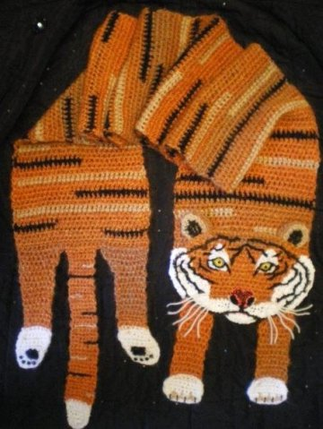 Вязание шарфа тигр
