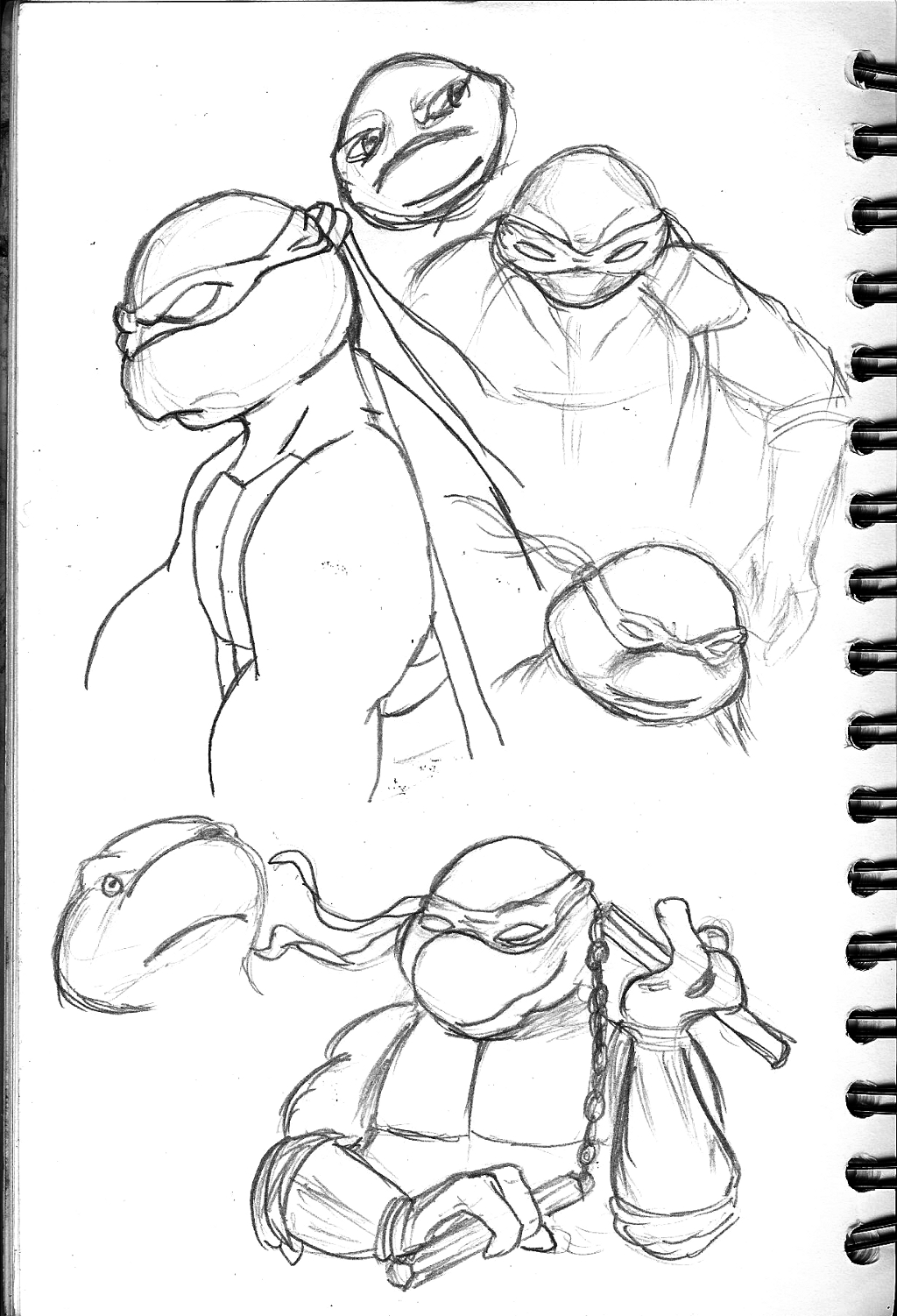 "Tonight I wanted to practice some Teenage Mutant Ninja Turtles and some expressions from Andrew Loomis book ""Fun With A Pencil"""