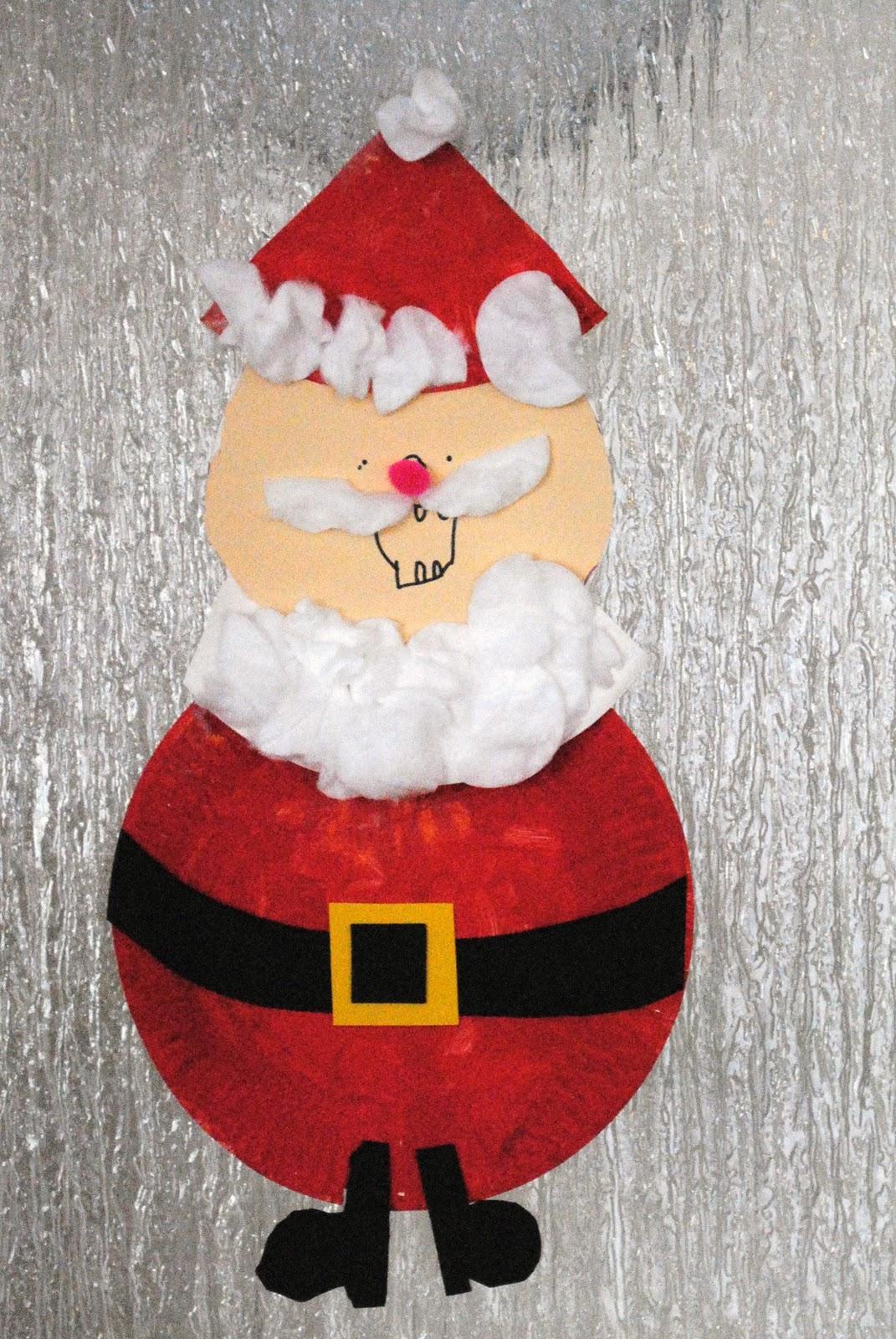kid craft friday paper plate santa tutorial kid crafts - Santa Claus Preschool Crafts