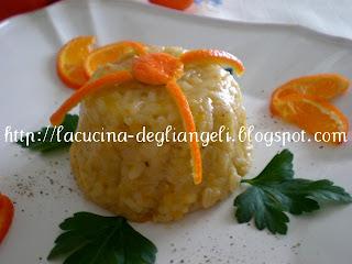 risotto con gamberi e mandarini