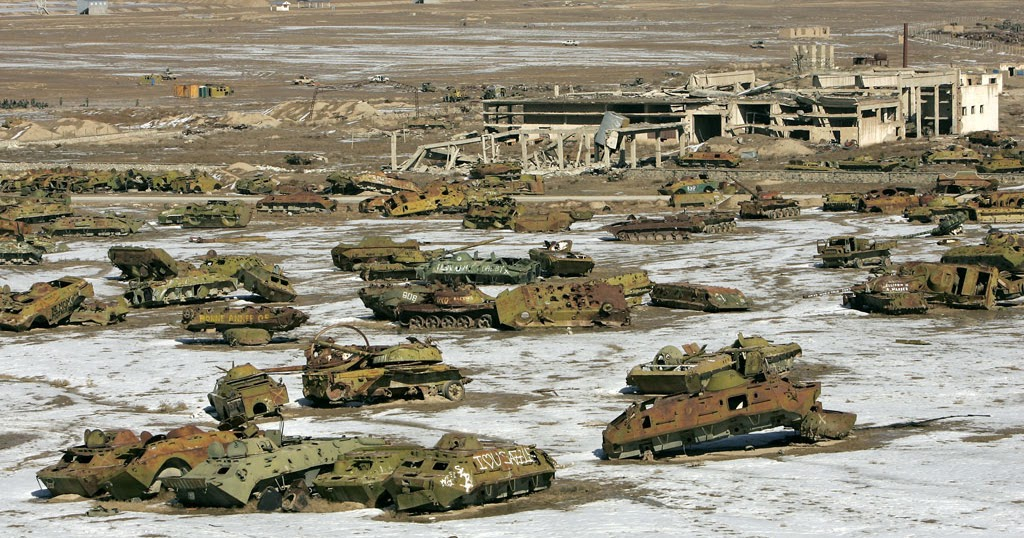 USSR red army tanks graveyard, east of Kabul, Afghanistan