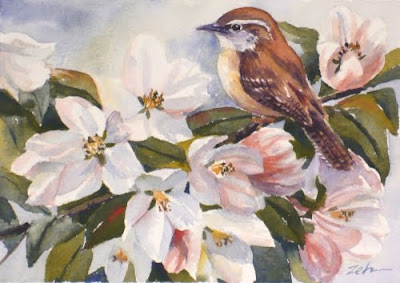 Carolina Wren and Crabapple Blossoms
