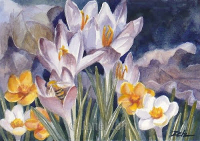 Crocus and Honey Bee watercolor by Janet Zeh