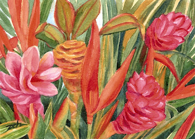 Art Blog Watercolor and Oil Paintings  Colorful Tropical Flowers