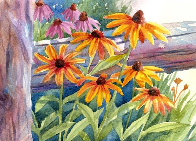 Black-eyed Susan flowers watercolor painting by Janet Zeh
