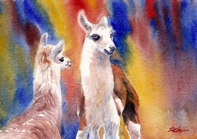 Baby animals - llamas watercolor painting
