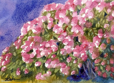 PeeGee hydrangeas flower painting by Janet Zeh