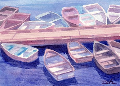 Boats watercolor seascape painting by Janet Zeh