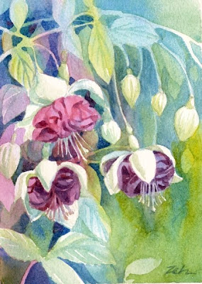 Fuschia flowers watercolor painting