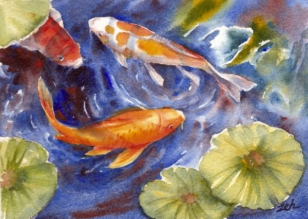 Zeh original art blog watercolor and oil paintings koi for Original koi fish