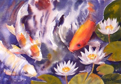 Koi fish in a water lily pond watercolor painting